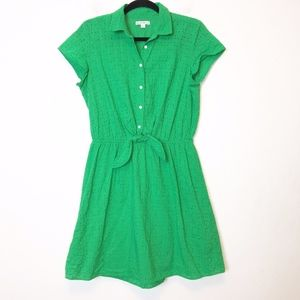 J Crew Green Eyelet Collared Tie Front Dress